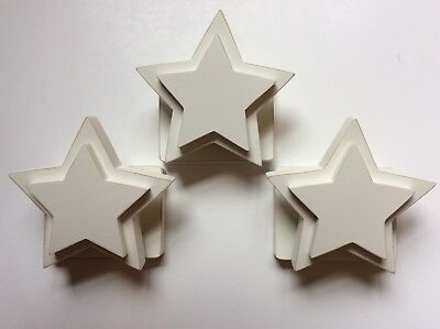 Pottery Barn Kids Star Quilt Clips Set Of 3 Off White Ivory Wood Unused New