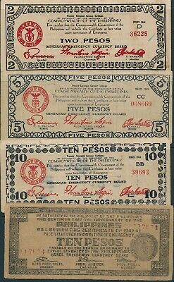 Lot Currency Japan WWII Philippines Emergency Notes Mindanao Circulated Worn 1