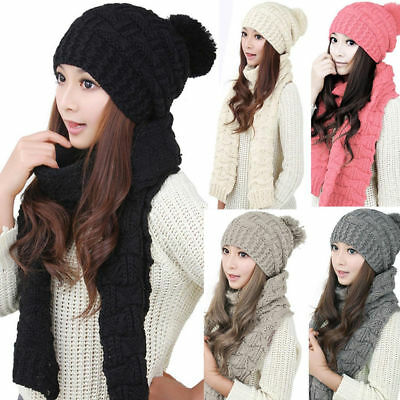 Winter Women Girls Knitted Scarf and Hat Set Warm Knitting Thicken Skullcaps