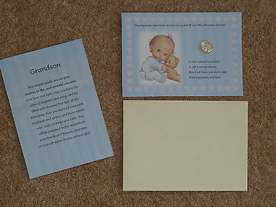 Grandson Lovely Gift* / Present/christening  Lucky Sixpence & Prayer