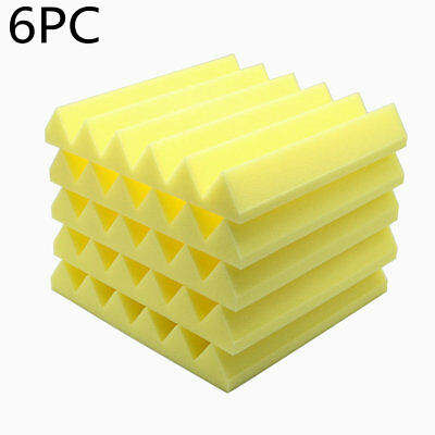"6pcs Acoustic Soundproof Stop Absorption Wedge Studio Foam 12""x 12""x2"" Yellow"