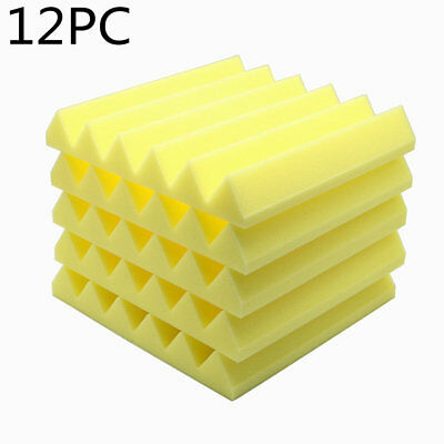 "12pcs Acoustic Soundproof Stop Absorption Wedge Studio Foam 12""x 12""x2"" Yellow"
