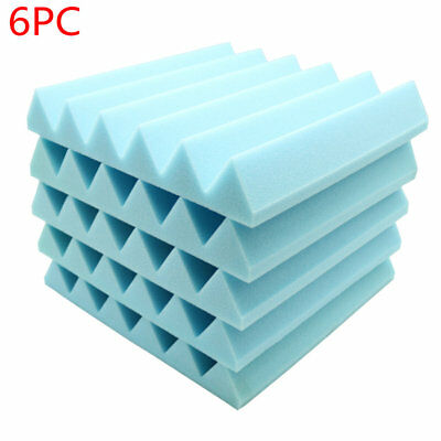 "6pcs Acoustic Soundproof Sound Stop Absorption Wedge Studio Foam 12""x 12""x2""Blue"