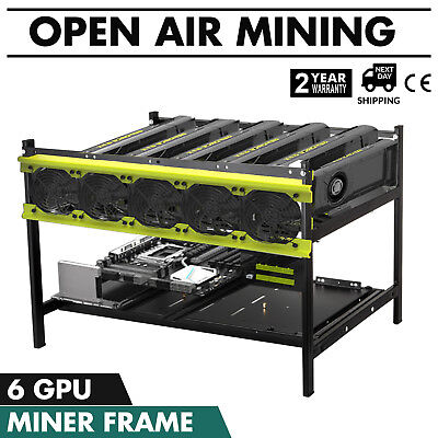 6 GPU Open Air Miner Mining Frame Rig Case Crypto Currency Coin ETH BTC Ethereum