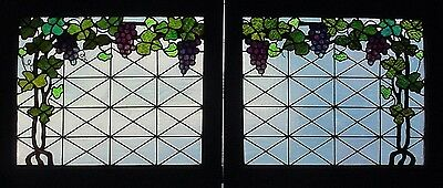 Pr. Antique American Floral Stained Glass Windows w/ Grapes and Vines