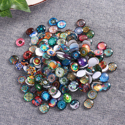 200pcs Mixed Color Glass Round Mosaic Tiles for Bathroom Kitchen Decoration 12mm