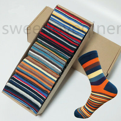 5 Pairs Mens Cotton Socks Lot Chromatic Stripe Fancy Design Casual Dress Men Sox