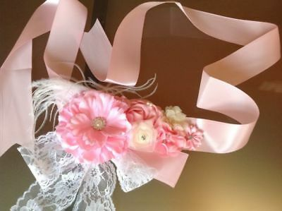 GIRLS PINK FLOWERGIRL DRESS SASH Vintage Belt Wedding Bridal Accessory Flower