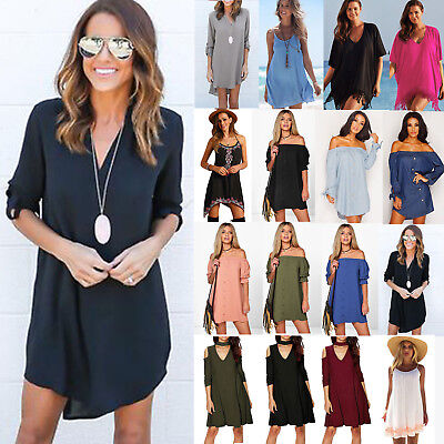 Boho Women Plus Size Party Short Mini Dress Summer Beach Casual Loose Top Blouse