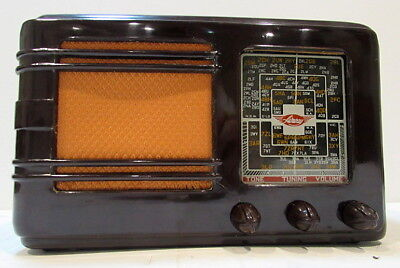 SENSATIONAL 1940's MOTTLE BROWN Retro Vintage *AIRWAY* Bakelite Valve Radio