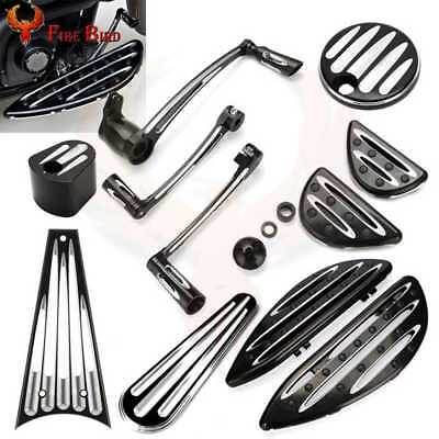 CNC Shift Lever+Floorboards+Tank Door Dash Track Insert Ignition Cap For Harley