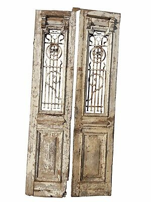 Pair Antique Architectural and Wrought Iron Grate Doors Large Wood and Iron Door