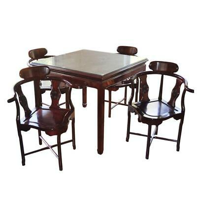 Hollywood Regency Asian Rosewood Dining Set Chinese Rosewood Dining Table/Chairs