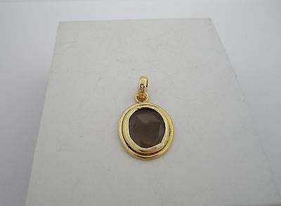 18K Gold Plated Over 925 Silver Smoky Quartz Pendent Ref: P044
