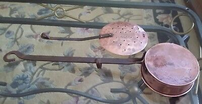 2 Pieces Antique Copper & Wrought Iron ladle spoon and  Strainer made in England