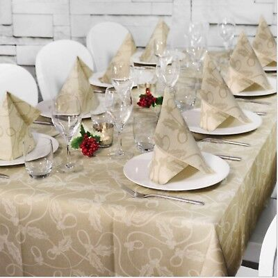 TABLE SET NATALIZIO MONOUSO HOLLY ORO AIRLAID CM 140x240 + (10x) 40x40 10PZ