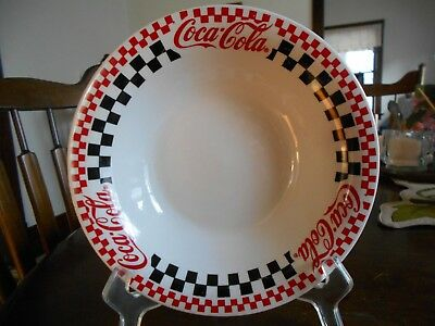 "Coca Cola Checkered Soup Cereal Bowl (s) 8"" Gibson Stoneware White Red Black !"