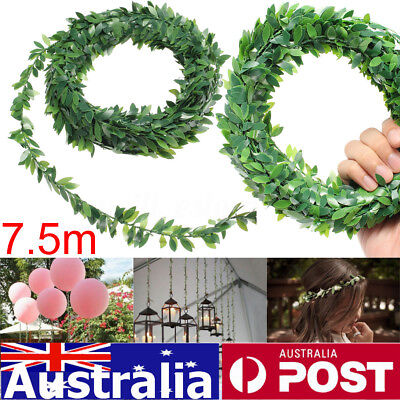 7.5m Artificial Leaves Ivy Vine Plant Garland Foliage Green Round Decor Party AU
