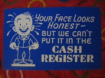 ORIGINAL 1950's GRAPHIC STORE SIGN WINDOW CARD HONEST FACE New-old stock!!!!