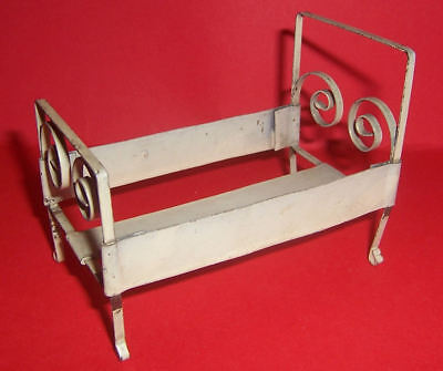 Vintage Dolls House German Metal Bed With Scrollwork