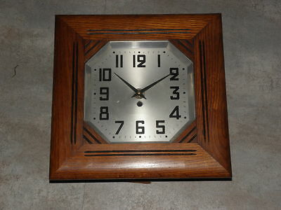 antique wall Clock wood Antique art deco horlogo horloge pendule vintage era