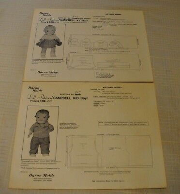 Campbell Soup Kids 1974 boy & girl doll clothes pattern sewing Byron Molds Uncut