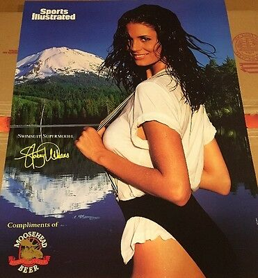 Vintage Sports Illustrated Swimsuit Moose head Beer 1996 Poster Sexy Brunette