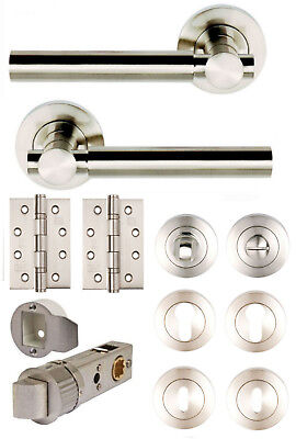 ASTRO Satin Nickel Lever on Rose Door Handles +Accessories /Latches /Privacy WC