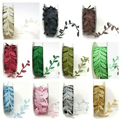 Satin Leaf Ribbon -  Christmas Vine Garland Flower Headband Bridal Trim