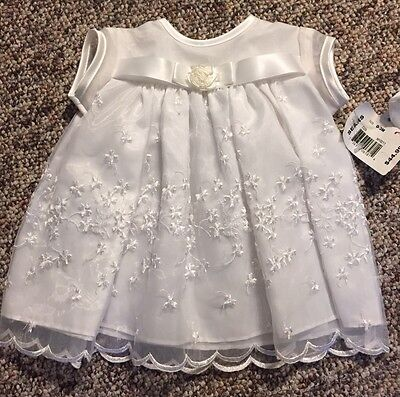 NWT Madonna White Christening Gown Dress & Bonnet 0 - 3 Months Embroidered