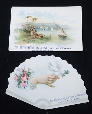 2 White Sewing Machine Trade Cards  One is Die Cut      #111610