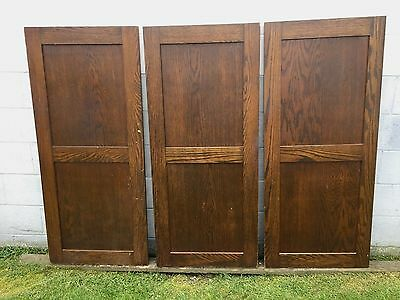 "3 ANTIQUE 23"" x 54"" OAK WOOD 2 FLAT PANEL CUPBOARD CABINET PANTRY DOORS"