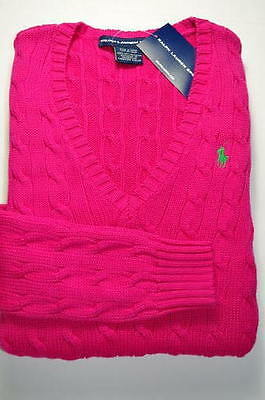POLO RALPH LAUREN WOMEN LADIES PINK JUMPER SWEATER V Neck CABLE COTTON S or M
