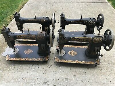 4 Awesome Old Antique White Rotary Treadle Sewing Machine Head Only Local Pickup