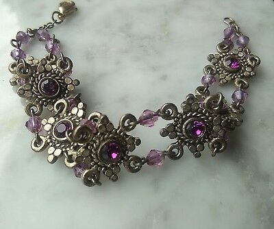 Vtg Art Deco Czech Facetted Purple Glass Link Bracelet 8 1/4""