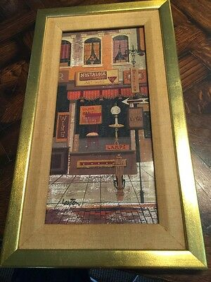 "Vintage 60' mid century modern PAINTING by artist MARGARET LAYTON ""Antique Shop"""