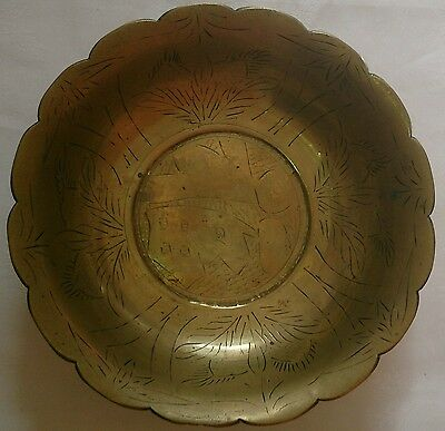 Antique Chinese Large Brass Bowl Engraved inside and out in good vintage cond