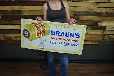 Braun's Town Talk Bread Embossed Sign Pittsburgh Bakery Braun Grocery store Adv