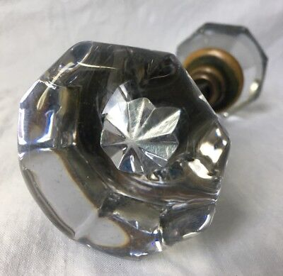 Vintage Antique Octagonal Clear Glass Door Knob Set 2.25""