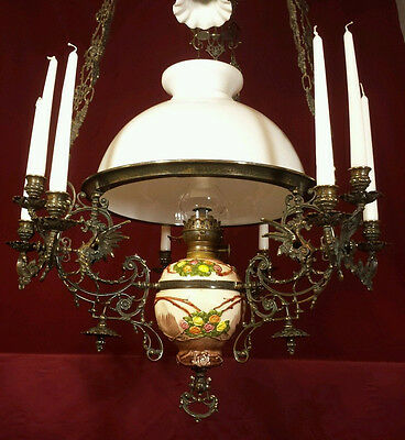 Antique Oil Lamp French Gothic Chandelier Victorian Hanging Candelabra Majolica