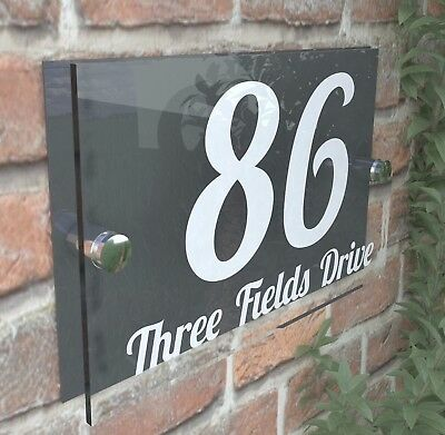 Contemporary HOUSE SIGN / PLAQUE / DOOR / NUMBER / GLASS EFFECT ACRYLIC 1W-A