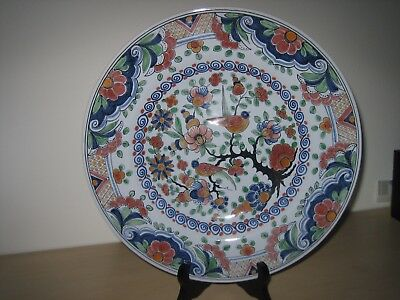 A HUGE 30cm Hand-Painted Dutch Delft MAKKUM Polychrome Display Charger Plate