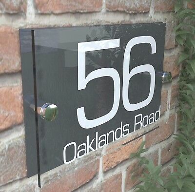 Contemporary HOUSE SIGN / PLAQUE / DOOR / NUMBER / GLASS EFFECT ACRYLIC 8W-A