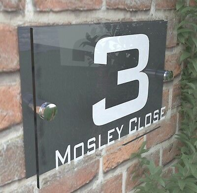 Contemporary HOUSE SIGN / PLAQUE / DOOR / NUMBER / GLASS EFFECT ACRYLIC 10W-A