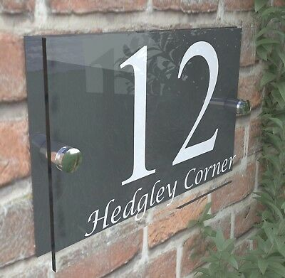Contemporary HOUSE SIGN / PLAQUE / DOOR / NUMBER / GLASS EFFECT ACRYLIC 13W-A