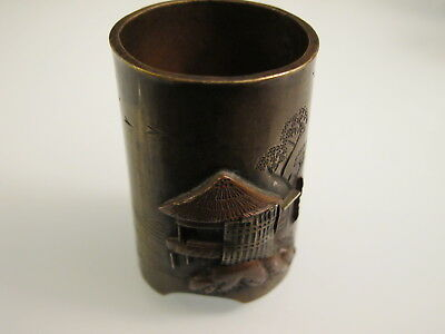 Antique Japanese Shakudo Mixed Metal shibuichi  Box  vase Meiji 19th century