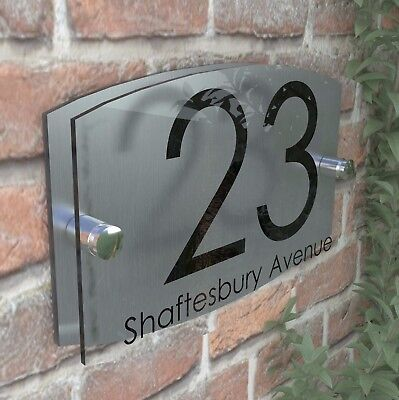 Contemporary House Sign Plaque Door Number 1 - 999 Personalised Name Plate EM27B