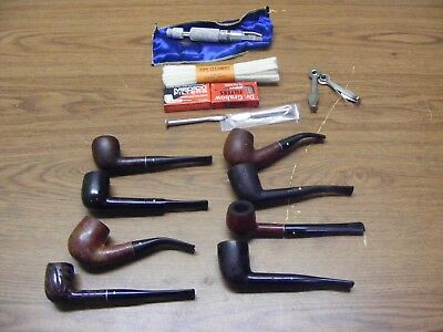 vintage estate lot of 8 willard and dr grabow pipes with cleaners and filters