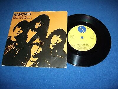 RAMONES *BABY I LOVE YOU / HIGH RISK INSURANCE* (UK) 1980 Single