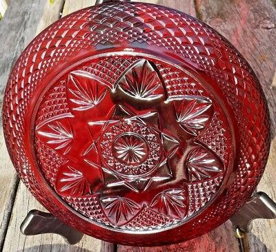 """VINTAGE Arcoroc Luminarc 10 1/8 """" DINNER Plate Cristal D'Arques Ruby Red France"""
